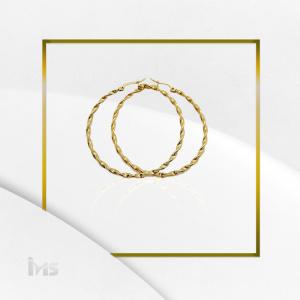 arete argolla circular grande trenzado oro dorado goldfilled sencillo