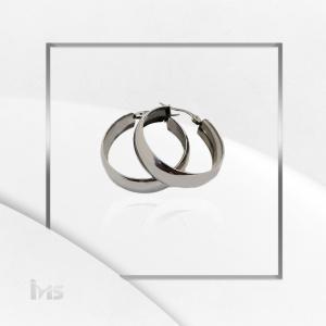 arete argolla circular plano grande sencillo plata acero