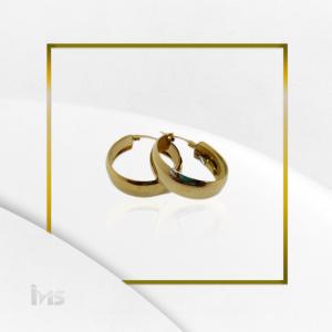 arete argolla ovalado sencillo grande ancho dorado oro goldfille