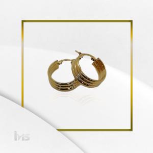 arete redondo circular ancho lineas dorado oro goldfilled