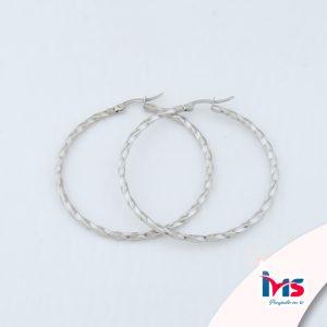 arete argolla circular grande trenzado plata acero sencillo
