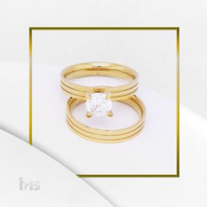 anillos matrimonio compromiso solitario acero dorado circon