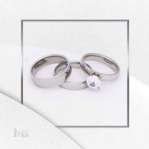 anillo matrimonio alianzas solitario propuesta acero acero circon