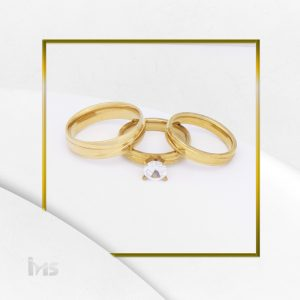 anillo matrimonio alianzas solitario propuesta acero dorado circon