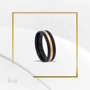 anillo acero negro con dorado sencillo unisex para hombre