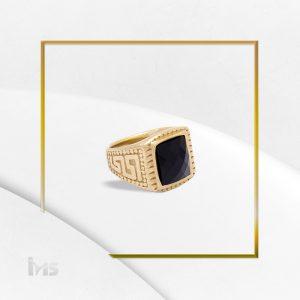 anillo para hombre acero dorado piedra negra caballero cuadrado grande