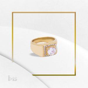 anillo para hombre acero dorado piedra caballero cuadrado fino
