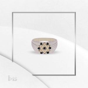 anillo plata oro estrella de david circones negros para hombre