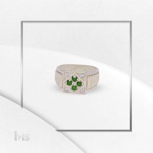 anillo plata oro circones verde esmeralda lineas cruz
