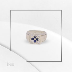anillo plata oro circones azul zafiro lineas cruz