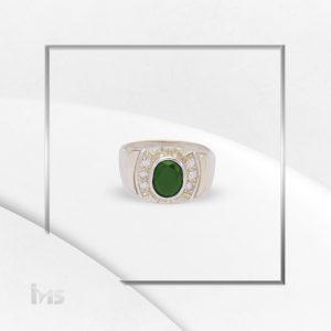 anillo oro plata para hombre corte ovalado circon verde esmeralda