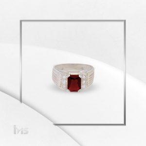 anillo oro plata para hombre asscher microcircones circon rojo rubi