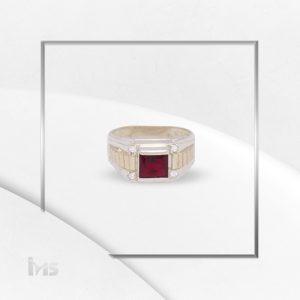 anillo oro plata para hombre circon rojo rubi cuadrado