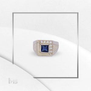 anillo oro plata para hombre zircon cuadrado azul zafiro
