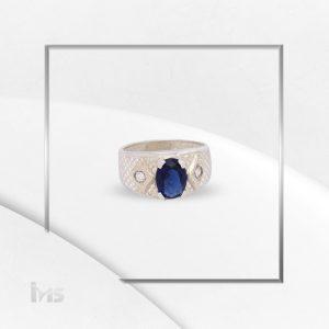 anillo oro plata para hombre flechas cicon ovalado azul zafiro