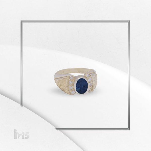anillo plata italiana oro circon ovalo azul zafiro