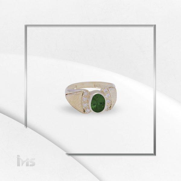 anillo plata italiana oro circon ovalo verde esmeralda