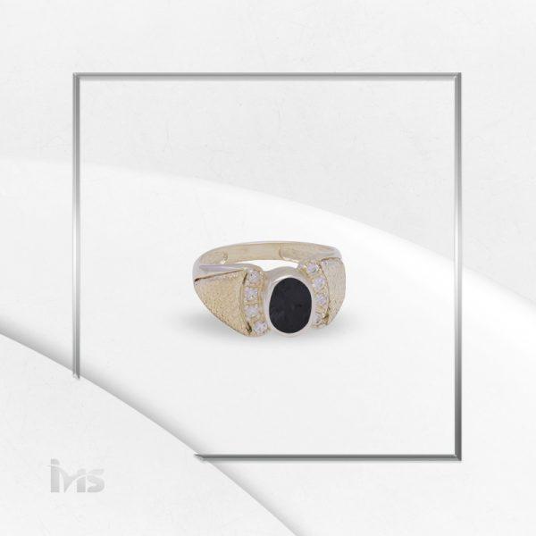anillo plata italiana oro circon ovalo negro onix