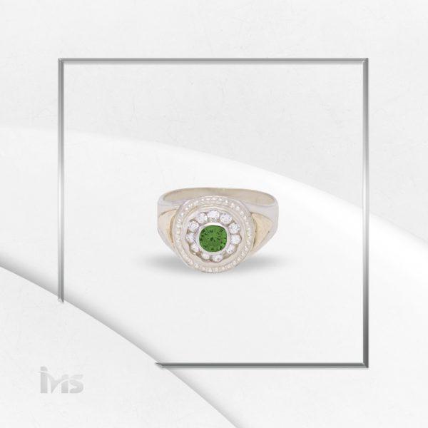 anillo oro plata circones corte brilante redondo para hombre verde