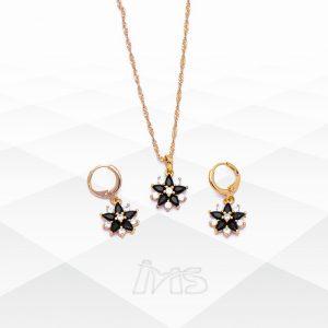 set-juego-collar-cadena-aretes--pequeños-acero-quirurgico-dorado-cristales-negros-blancos-circones-flor