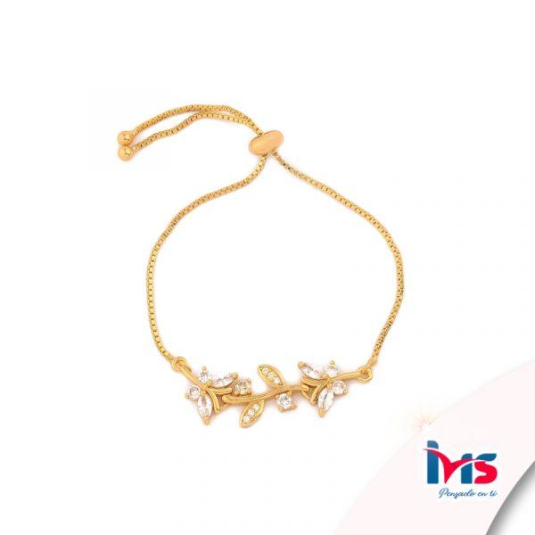 pulsera-para-dama-mujer-acero-quirurgico-dorado-cordon-ajustable-cristales-hojas-espiga