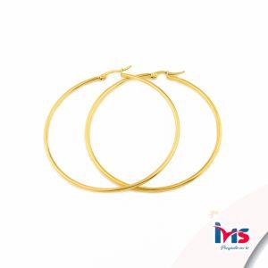 arete argolla circular grande dorado acero sencillo