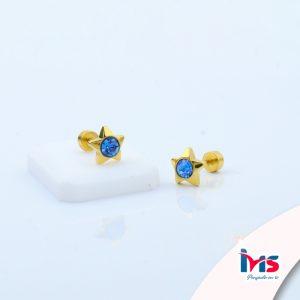 arete-ortopedico-acero-quirurgico-dorado-para-niña-bebe-estrellita-estrella-cristal-azul