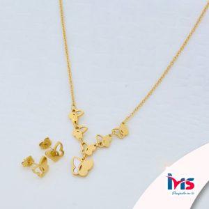 juego-set-layer-cadena-doble-aretes-para-dama-mujer-acero-quirurgico-dorado-mariposa-mariposas