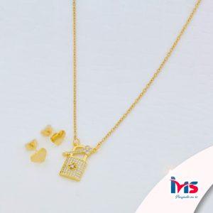 juego-set-layer-cadena-doble-aretes-para-dama-mujer-acero-quirurgico-dorado-llave-candado