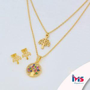 juego-set-layer-cadena-doble-aretes-para-dama-mujer-acero-quirurgico-dorado-arbol-de-la-vida-cristales-colores