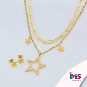 juego-set-layer-cadena-doble-aretes-para-dama-mujer-acero-quirurgico-dorado-estrella-grande