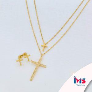 juego-set-layer-cadena-doble-aretes-para-dama-mujer-acero-quirurgico-dorado-cruz