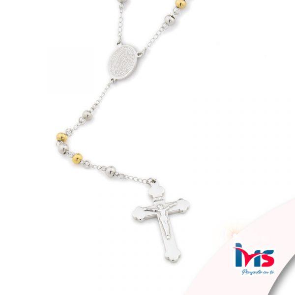 rosario acero quirurgico plateado dorado bolitas medianas sencillo
