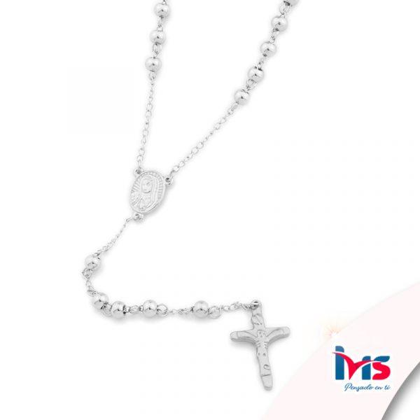 rosario acero quirurgico plateado bolitas medianas sencillo
