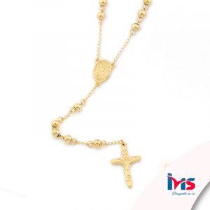 rosario acero quirurgico dorado bolitas medianas sencillo