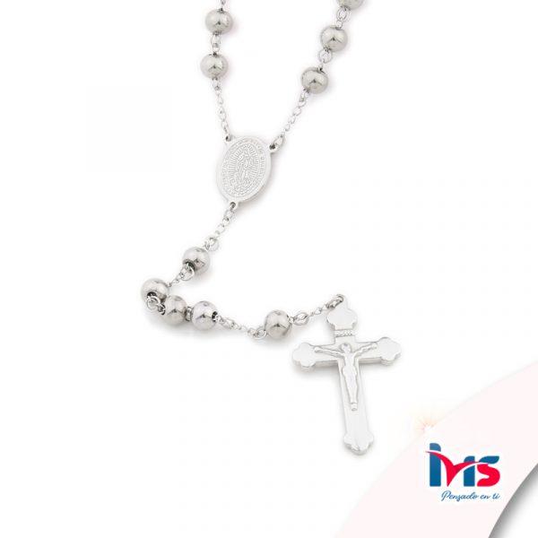 rosario acero quirurgico plateado bolitas grandes sencillo