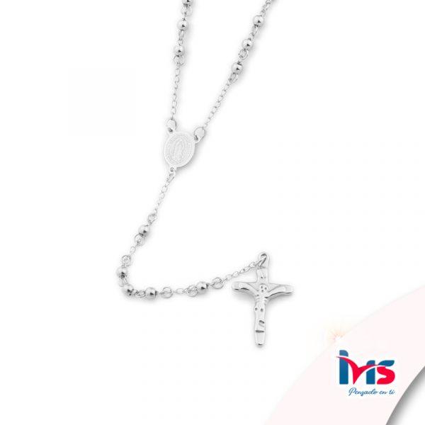 rosario acero quirurgico plateado bolitas pequeñas sencillo