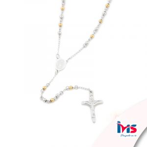 rosario acero quirurgico plateado dorado bolitas pequeñas sencillo