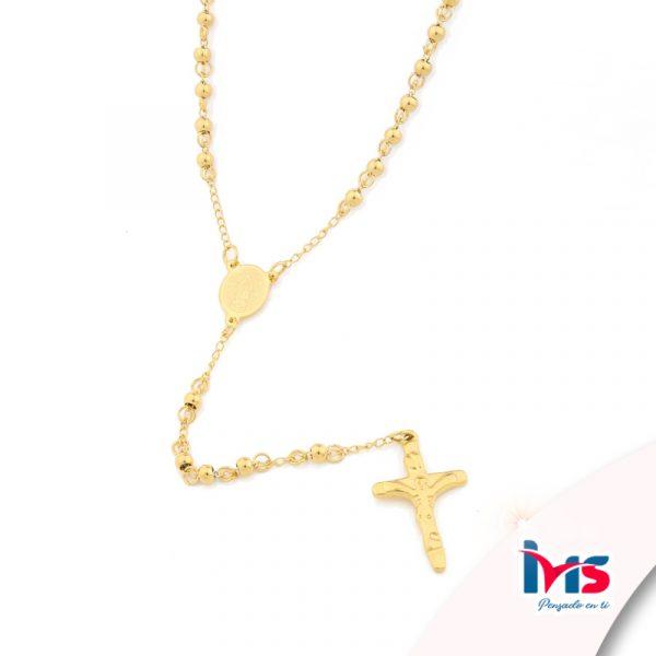 rosario acero quirurgico dorado bolitas pequeñas sencillo
