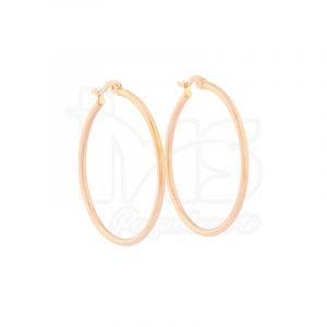 arete argolla circular grande oro rosa acero sencillo