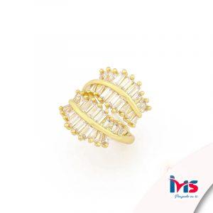 anillo de acero quirurgico dorado microcircones espiga cristales