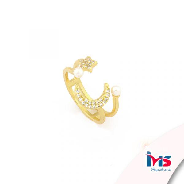 anillo de acero quirurgico dorado microcircones luna estrella perla