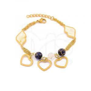 pulsera doble acero quirurgico dorado piedras naturales azul beso corazon