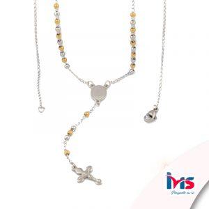 rosario acero quirurgico plateado bolitas pequeñas sencillo combinado dorado
