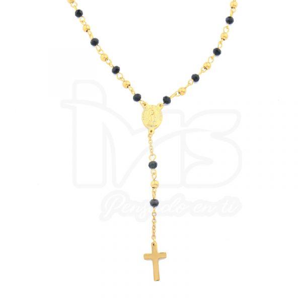 rosario acero quirurgico dorado bolitas pequeñas sencillo negro cristales