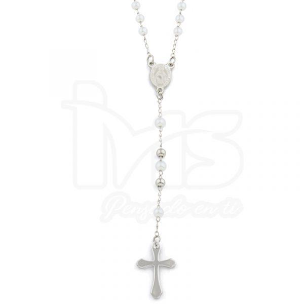 rosario acero quirurgico plateado dorado bolitas pequeñas sencillo perlas blancas