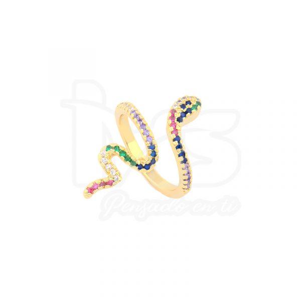 anillo de acero quirurgico dorado microcircones serpiente-colores
