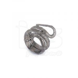 anillo de acero quirurgico negro serpiente
