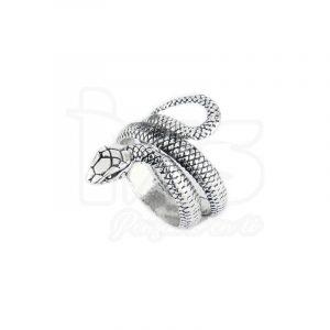 anillo de acero quirurgico plateado serpiente