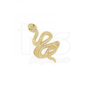 anillo de acero quirurgico dorado microcircones serpiente